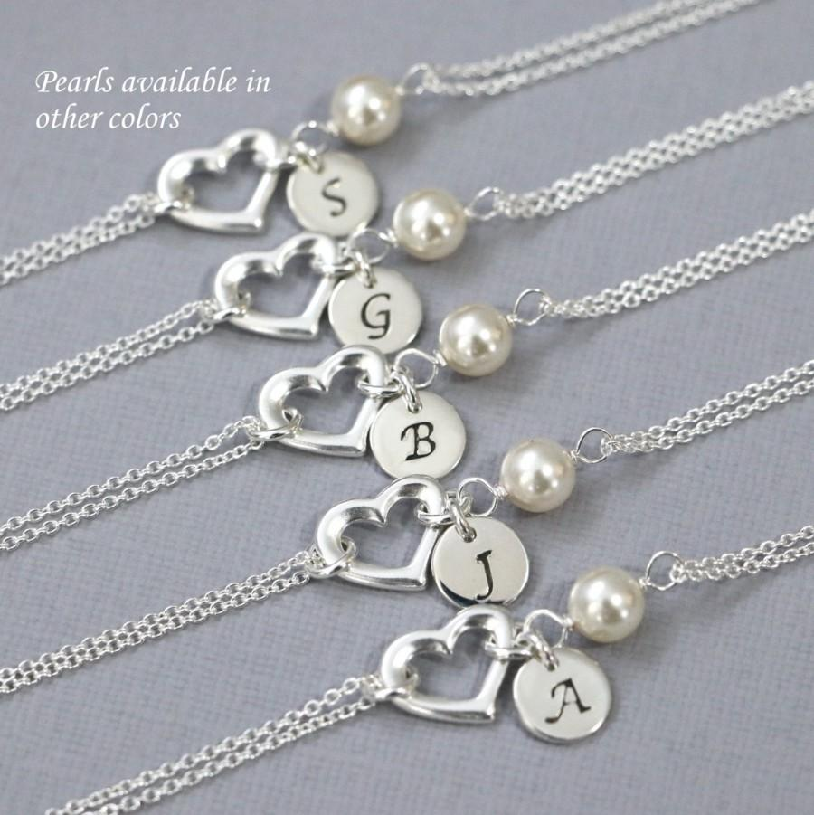 Personalized Sterling Silver Heart And Swarovski Ivory Pearl Bracelet Bridesmaid Jewelry Gift For Her