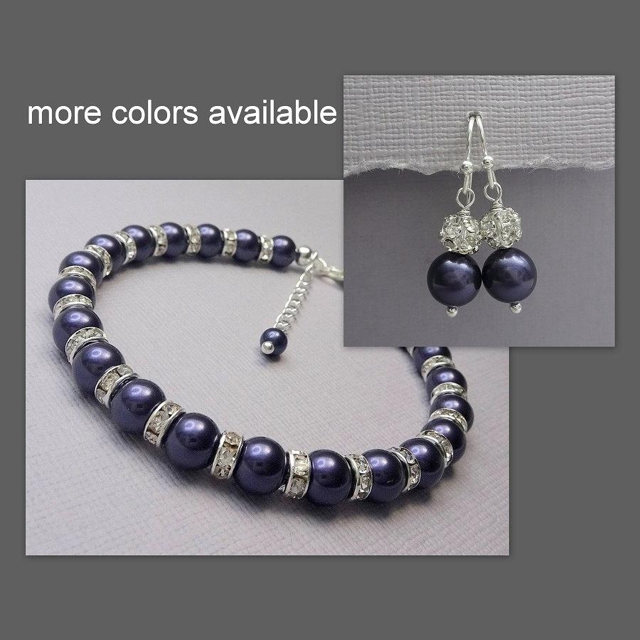 Bridesmaid Gift Swarovski Dark Purple Pearl Bracelet And Earring Set Jewelry Personalized Bridal Party