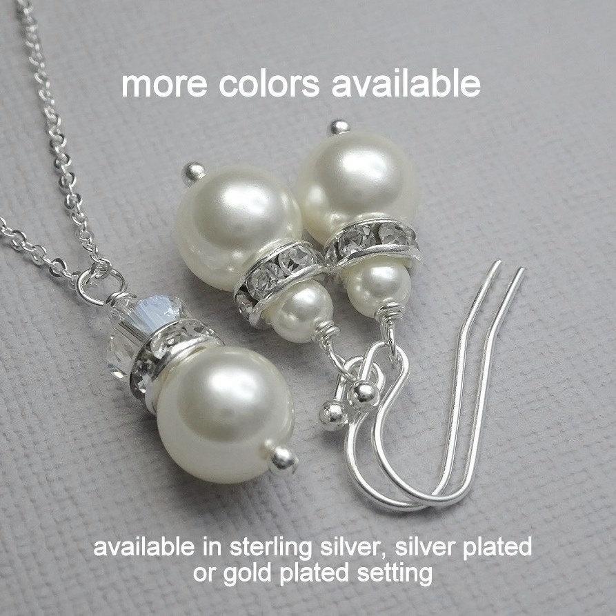 زفاف - Set of 7 Personalized Bridesmaid Jewelry Set, Swarovski White Pearl Jewelry Set, Bridal Party Jewelry, Bridal Party Gifts, Wedding Jewelry