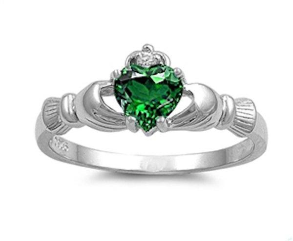 زفاف - Claddagh 925 Sterling Silver 0.75 Carat Emerald Green Heart Diamond Accent Promise Wedding Engagement Anniversary Fidelity Ring Love Gift