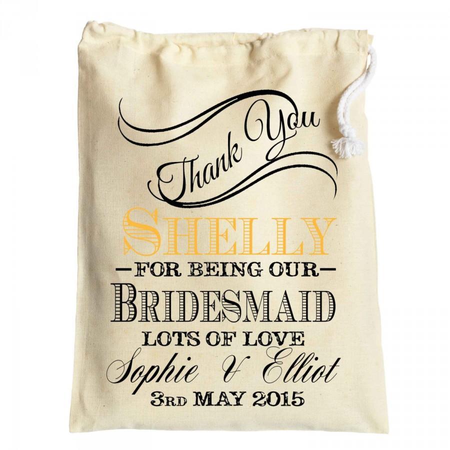 Wedding - Personalised vintage wedding day thank you gift bag for bridesmaids , page boy, groomsmen , flower girls wedding favor