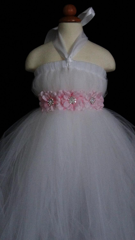 Wedding - Flower Girl Tutu  Dress with Flower sash