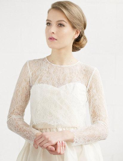 aae362980b Bridal Lace Top ,Long Sleeve Bridal Lace Cover Up, Chantilly Lace Ivory  Bridal Separate , WeddingTopper- ELLA