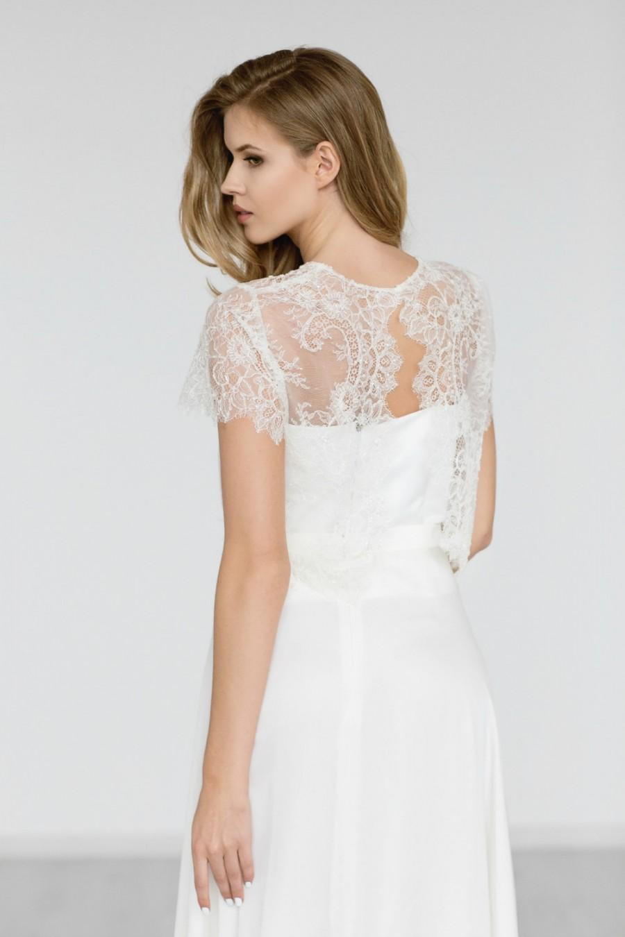 Bridal Lace Top Bridal Bolero Beaded Wedding Top