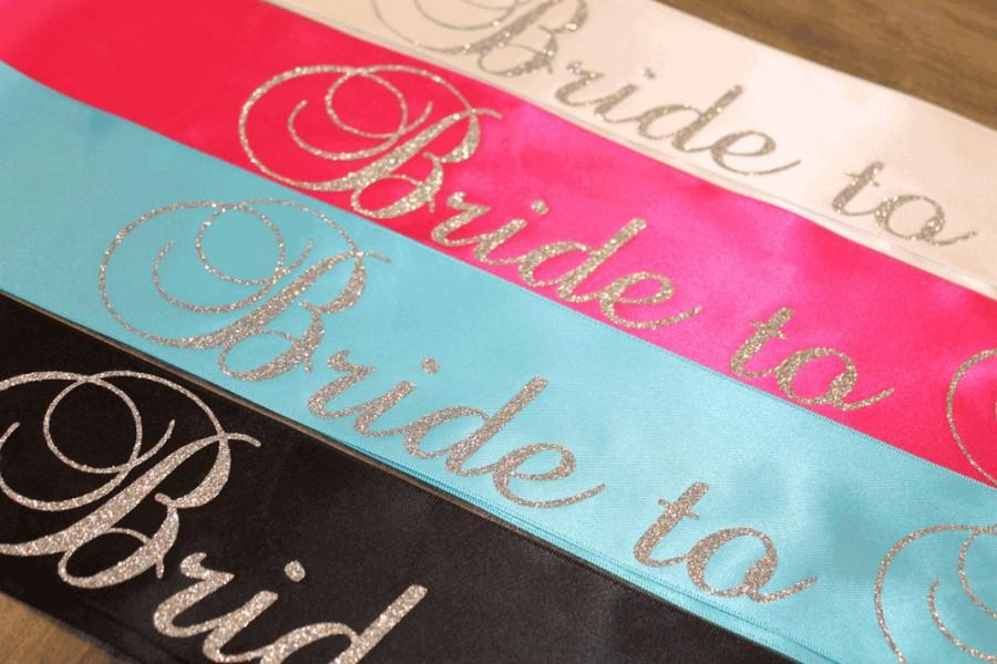 bride bachelorette party sash bridal shower sash customized all silver glitter