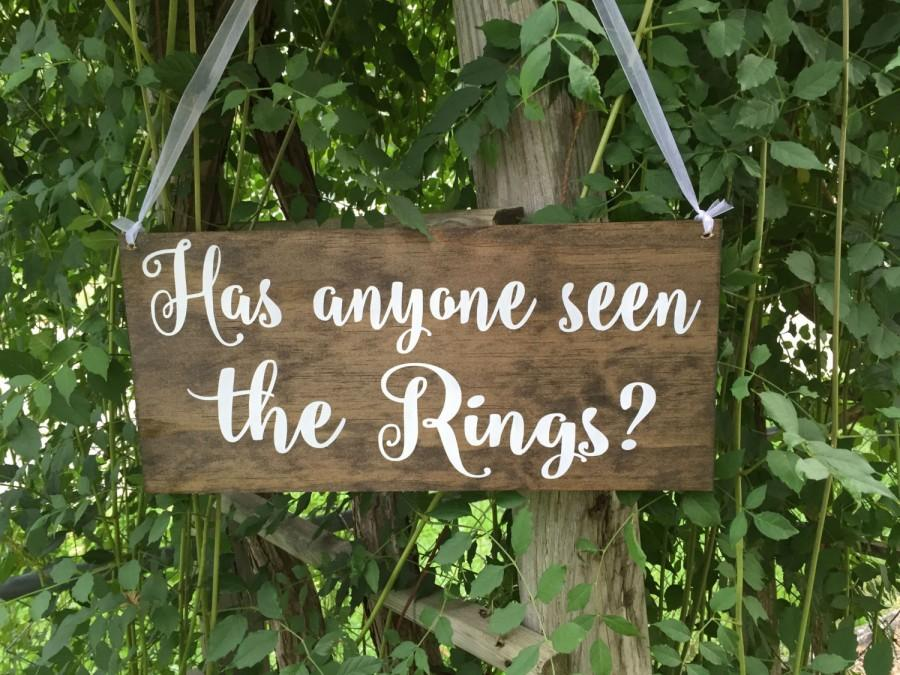 Mariage - Has anyone seen the rings, flower girl sign, ring bearer sign, rustic wooden sign, stained wood, rustic wedding signage, rustic sign