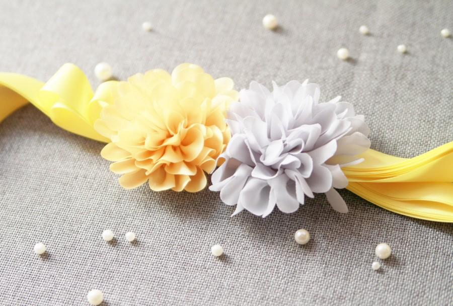 Mariage - Bridal Flower Sash Belt - Wedding Dress Sashes Belts - Pineapple Yellow Light Grey Gray Chiffon Flowers Double Sides Ribbon Belt