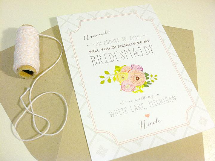 Hochzeit - Will You Be My Bridesmaid Cards / Personalized / Custom Bouquet / Printed
