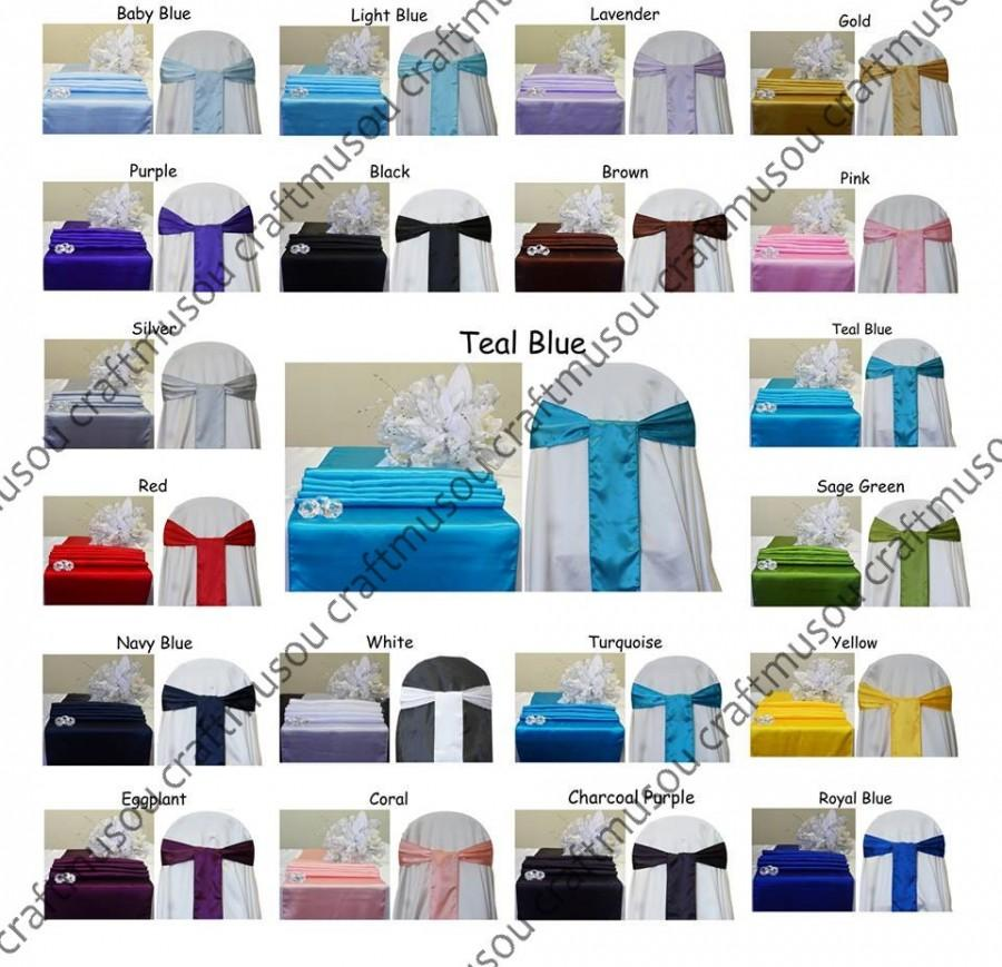 """Mariage - Set 12""""x108"""" Satin Table Runner and 6""""x108"""" Satin Chair bow For Wedding Party Banquet 20+ colors"""