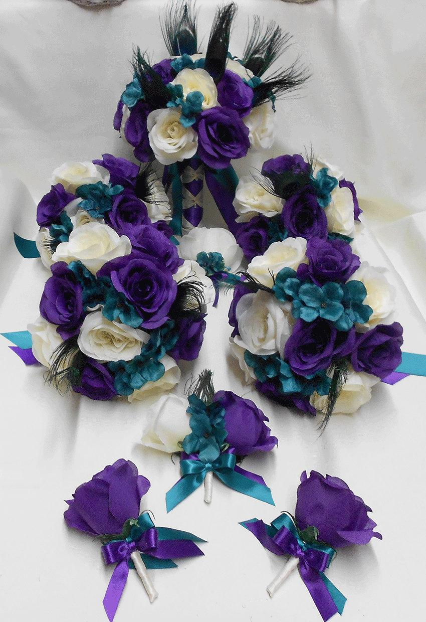 Wedding Silk Flower Bridal Bouquets Package Peacock Feathers Ivory