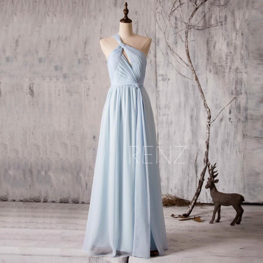 Mariage - 2015 Light Blue Bridesmaid dress Long, One Shoulder Wedding dress, Hollow neck Evening dress, Asymmetric Prom dress floor length (Z047)