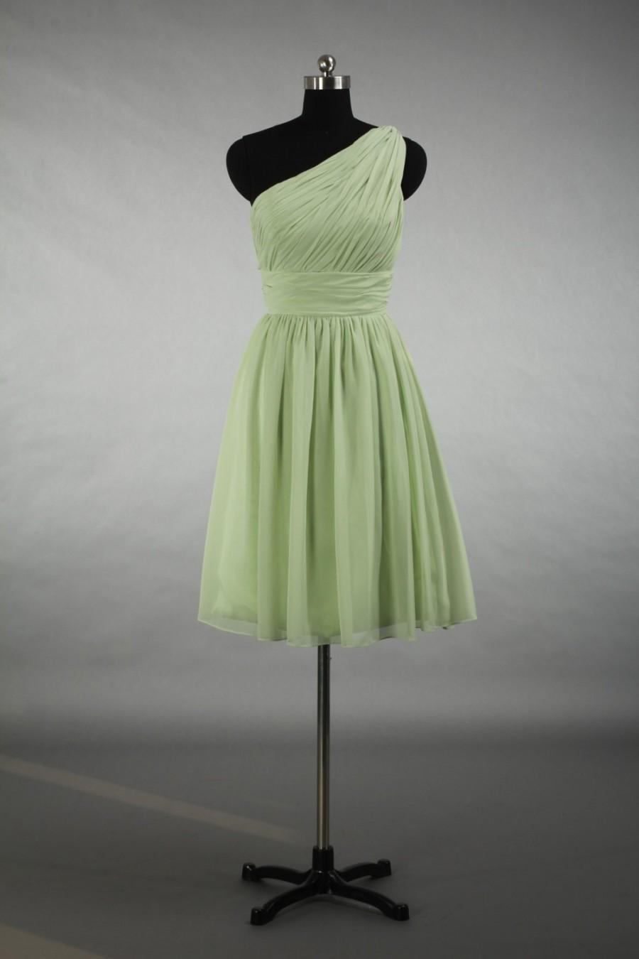 Mariage - Sage Bridesmaid Dress, One Shoulder Knee-length Chiffon Bridesmaid Dress