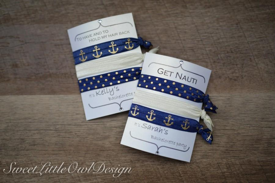 """Mariage - Navy blue, Gold, and Cream Nautical Bachelorette Elastic Hair Ties- """"To have and to hold my hair back"""" """"Get Nauti""""- Party Favors"""