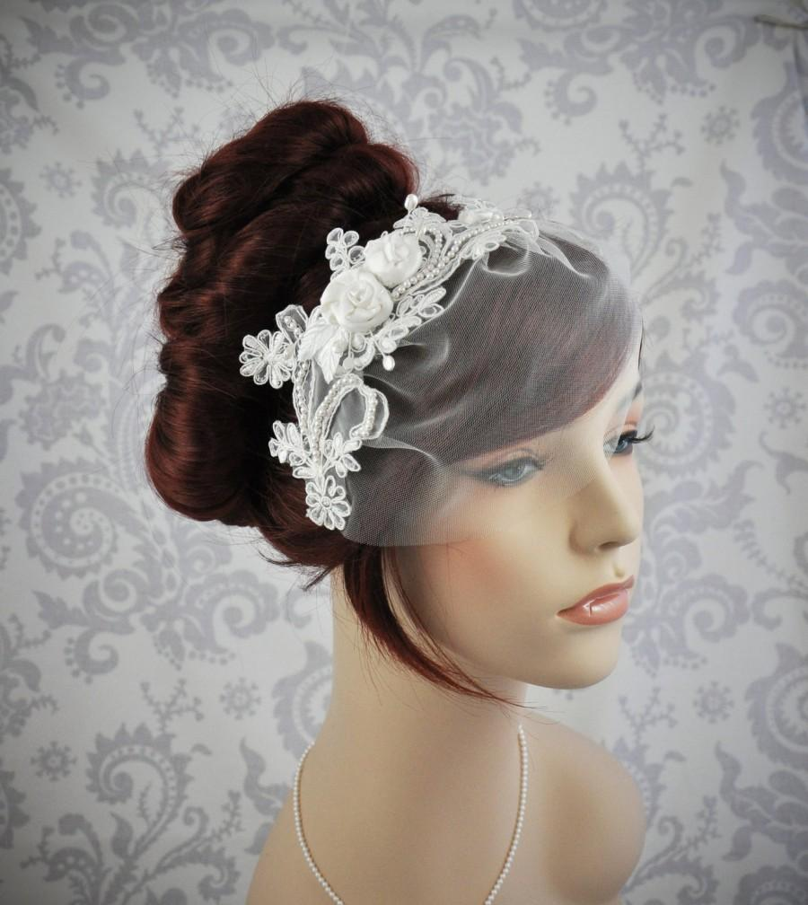 Mariage - Ready to Ship - Bird Cage Veil, Lace birdcage Veil, Ready to Ship, Vintage Style Birdcage Veil, Detachable veil - ivory - 113BC