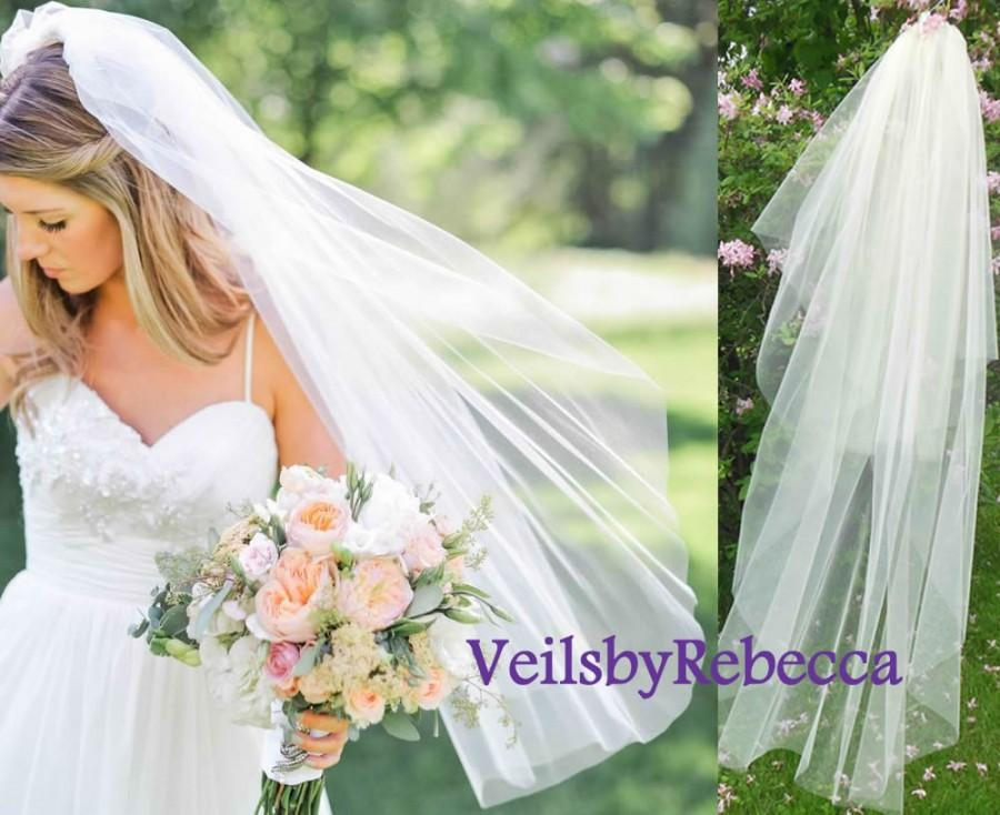 Mariage - 2 tiers fingertip length tulle veil, simple blusher tulle veil, tulle wedding veils, tulle bridal veils in many colors for your choice