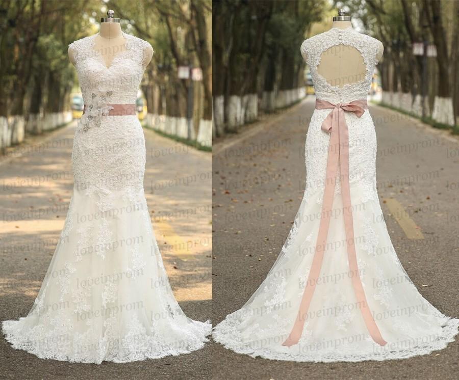Mariage - Sexy mermaid wedding dress,handmade lace/tulle cap sleeve wedding gowns,white/ivory bridal dress