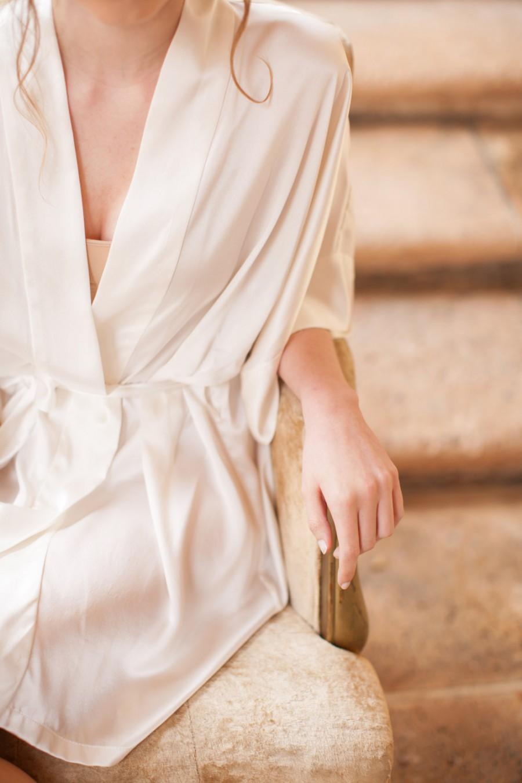 Mariage - Samantha Silk Kimono Bridal Robe Bridesmaids Robes in Ivory