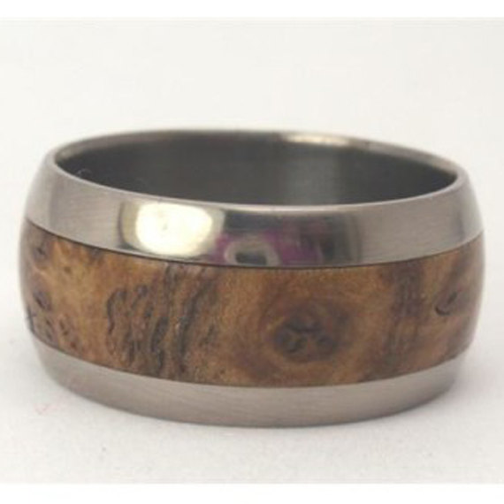 Mariage - Black Ash Burl Wood Inlay, Titanium Ring Round, Ring Armor Included
