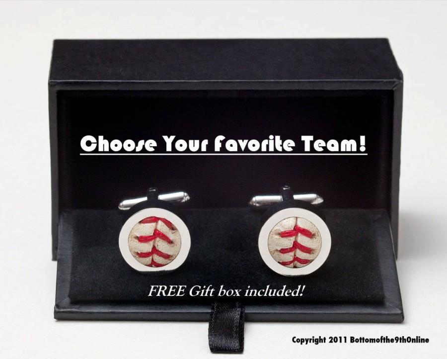 زفاف - Pick Your Team -  Game Used Baseball Cufflinks w/ GIFT BOX Included