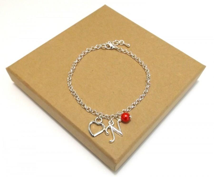 Wedding - Bridesmaid Gift, Heart Charm Bracelet, Flower Girl Gift, Personalised Heart Bracelet, Flower Girl Jewellery, Personalised Initial Bracelet