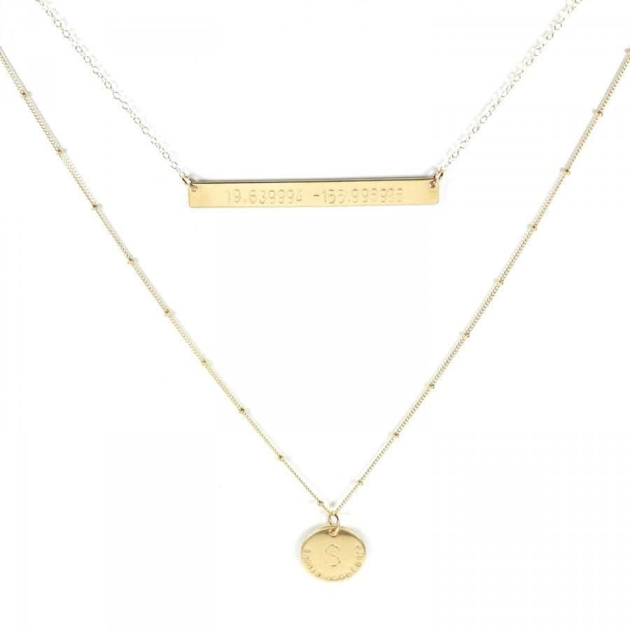 زفاف - Geographic Coordinate necklace. Jessica 2.25 inch bar