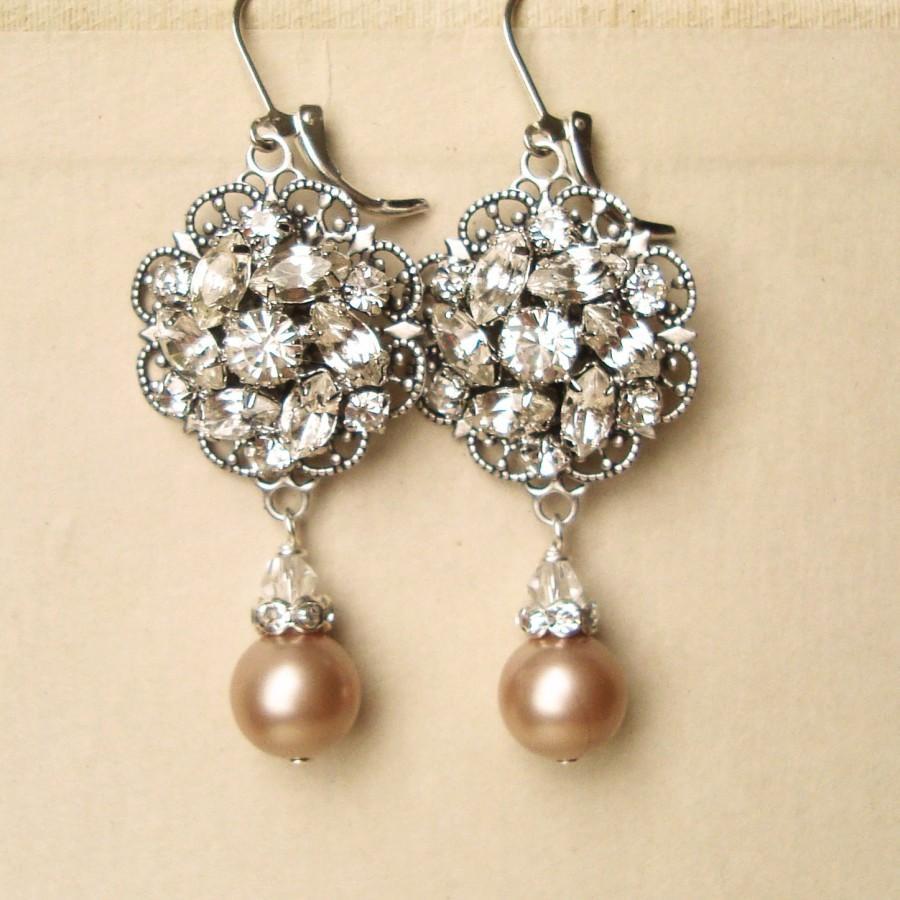 Mariage - Champagne Pearl Bridal Wedding Earrings, Vintage Inspired Bridal Earrings, Champagne Pearls, Antiqued Silver Filigree Earrings, CELINE