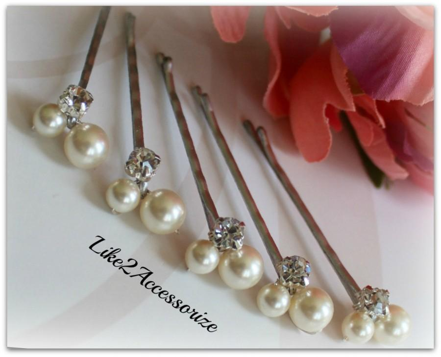 Mariage - Pearl Bobby Pins Hair Accessories Swarovski Silver Gold Hair Piece Ivory Champagne White Bridesmaid Gift Wedding Headpieces Flower Girl Clip