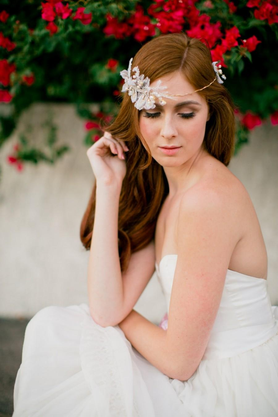 Mariage - Ivory bridal headband- Crystal headpiece -Gold leaf accessory- beaded rose wedding tiara-style 300