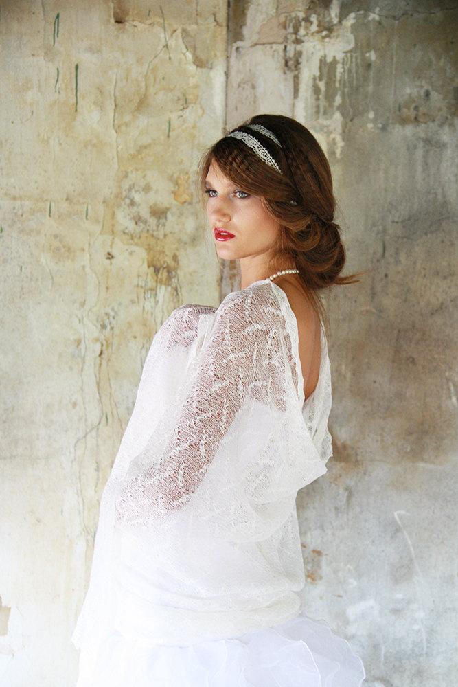 Mariage - Wedding Linen Scarf  Bridal Lace Shawl  White Sheer Stole Wedding Knitted Wrap  White Linen Thin Lace Fog Scarf