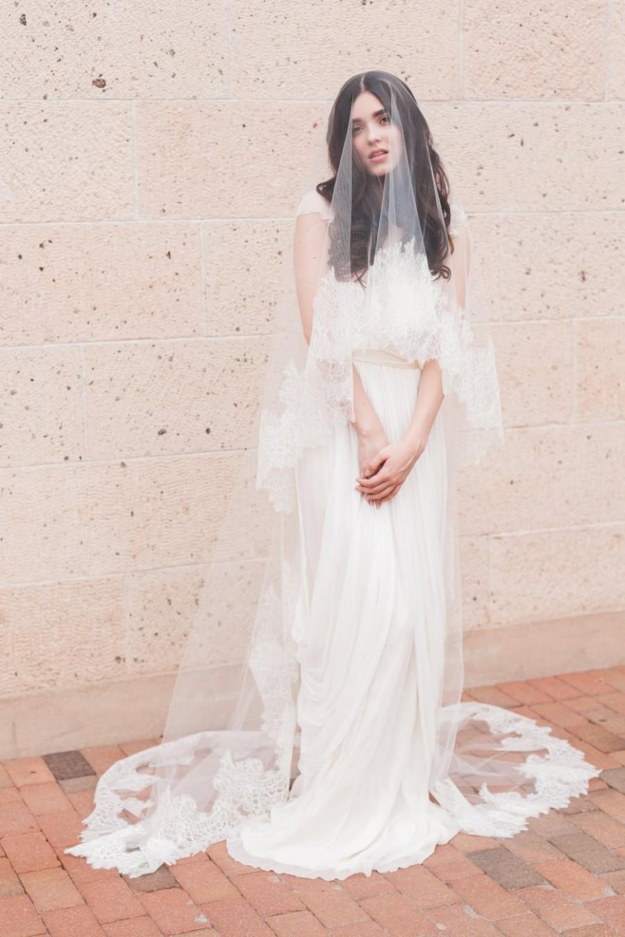 Bridal Mantilla Veil Double Layer Veil Fingertip Veil Drop