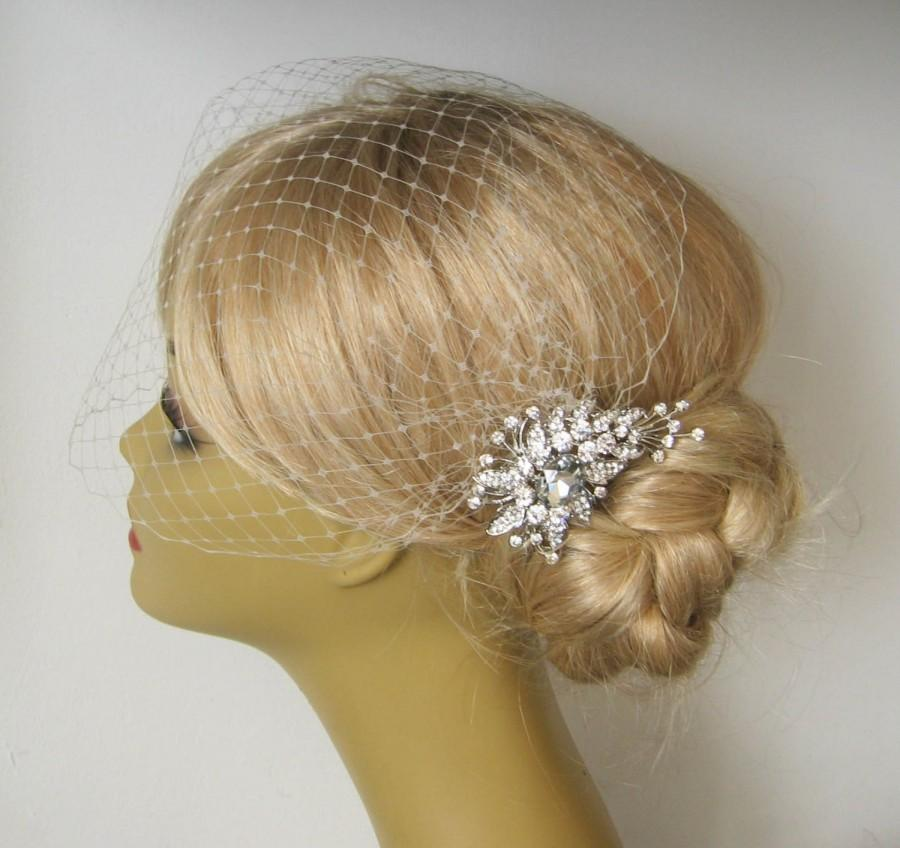 Hochzeit - Bridal Veil and Bridal Comb, Bandeau Birdcage Veil, Blusher Bird Cage Veil Rhinestone Bridal Hair Comb,Blusher Bird Cage Veil