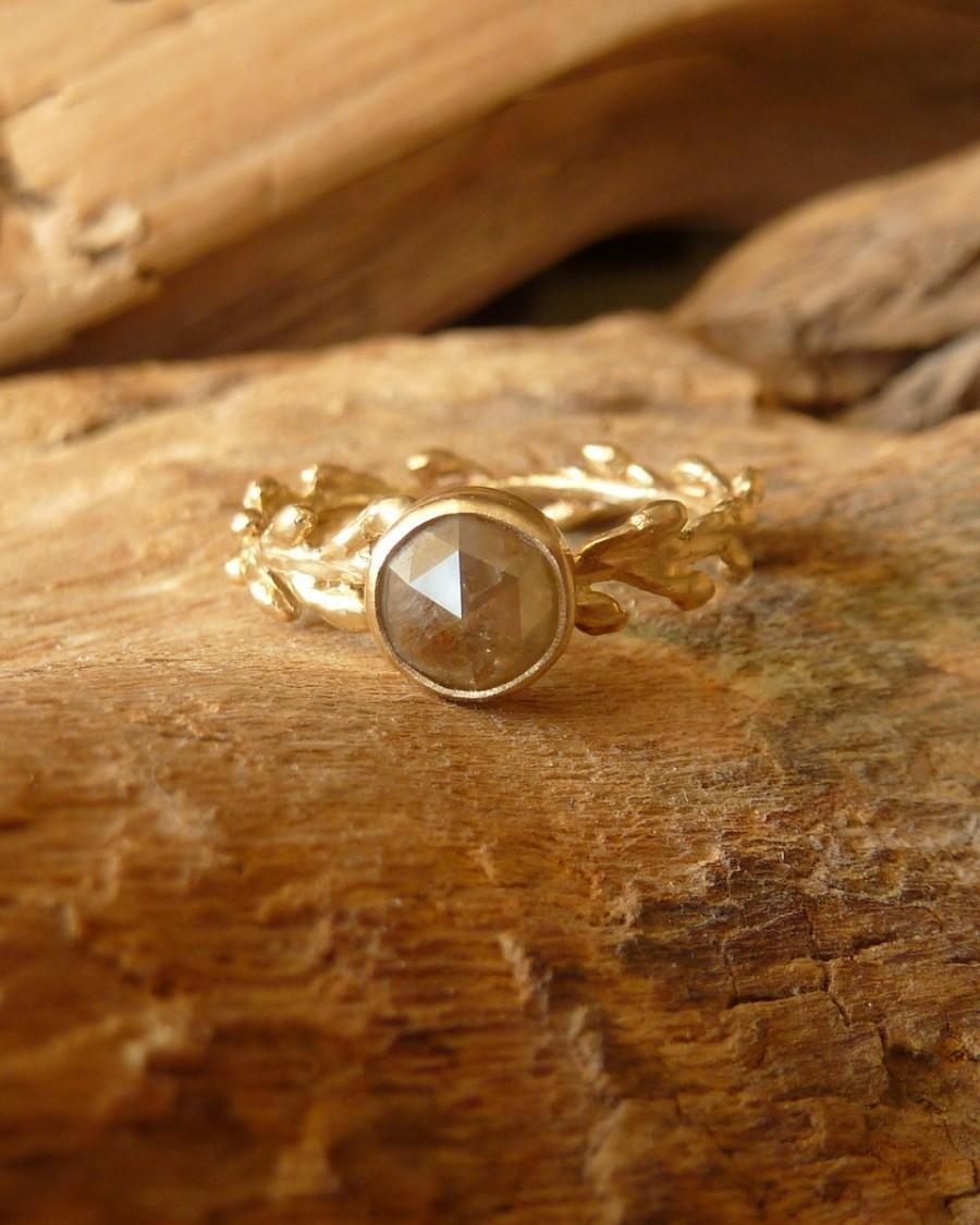 زفاف - Rose Cut Diamond and Laurel Wreath Ring - Deposit