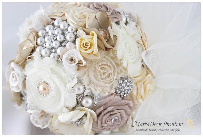 Wedding - Brooch Bouquet Bridal Beaded Bouquet Jeweled  Bridesmaids Bouquet Pearl Wedding Bouquet Sphere Style Bouquet in Champagne, Tan Ivory