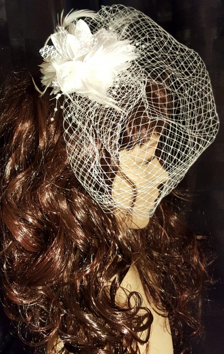 Mariage - French Birdcage Blusher Veil with Tulle and Lace Flower