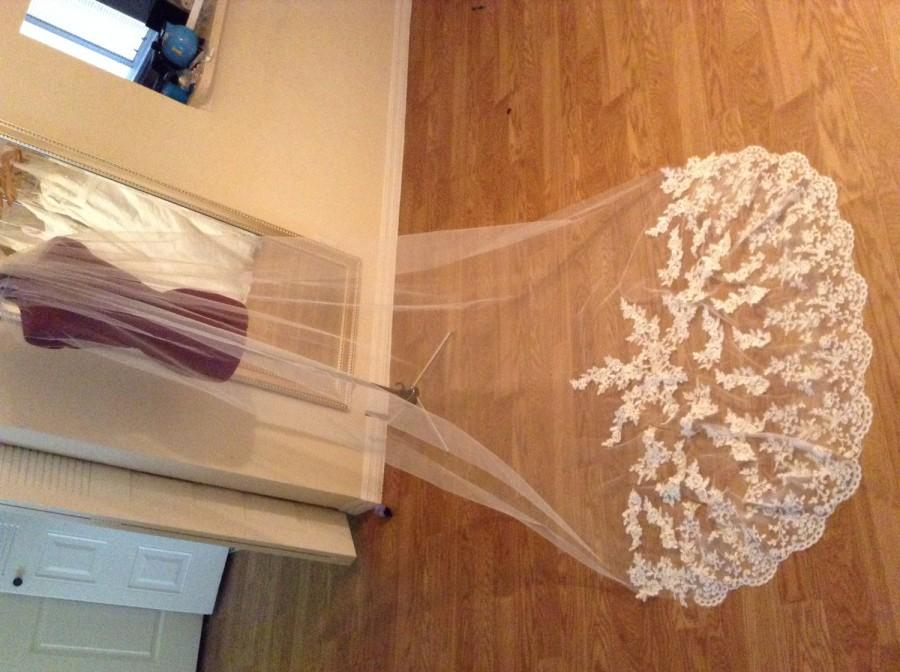 Mariage - High quality beautiful long veil with lace at the edge cathedral lenght