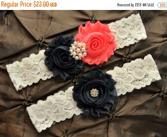 Mariage - SALE Wedding Garter Set, Bridal Garter Set - Ivory Lace Garter, Navy Wedding Garter, Coral Wedding Garter, Navy Garter, Coral Garter Wedding