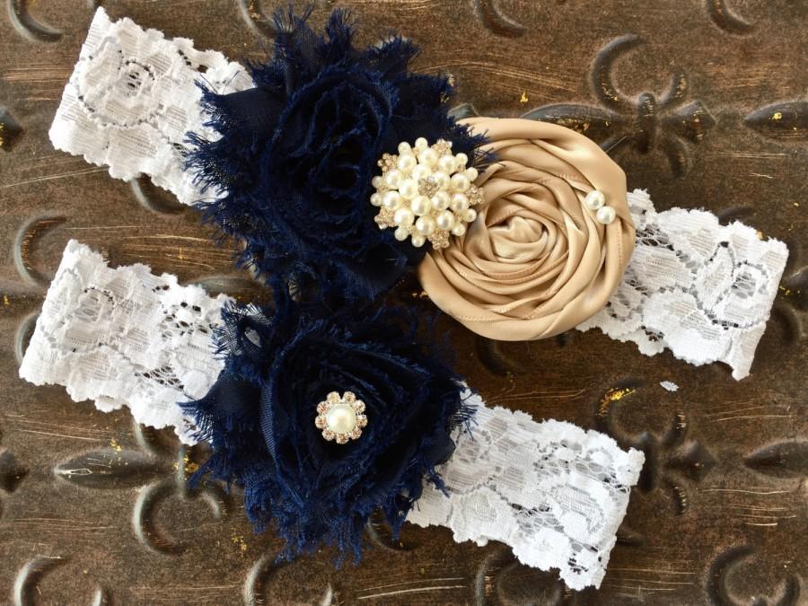 Mariage - Something Blue Garter, Navy Blue Garter, Navy Blue Wedding Garter, Navy Blue Bridal, Wedding Garter, Lace Wedding Garter, Blue Garter Set