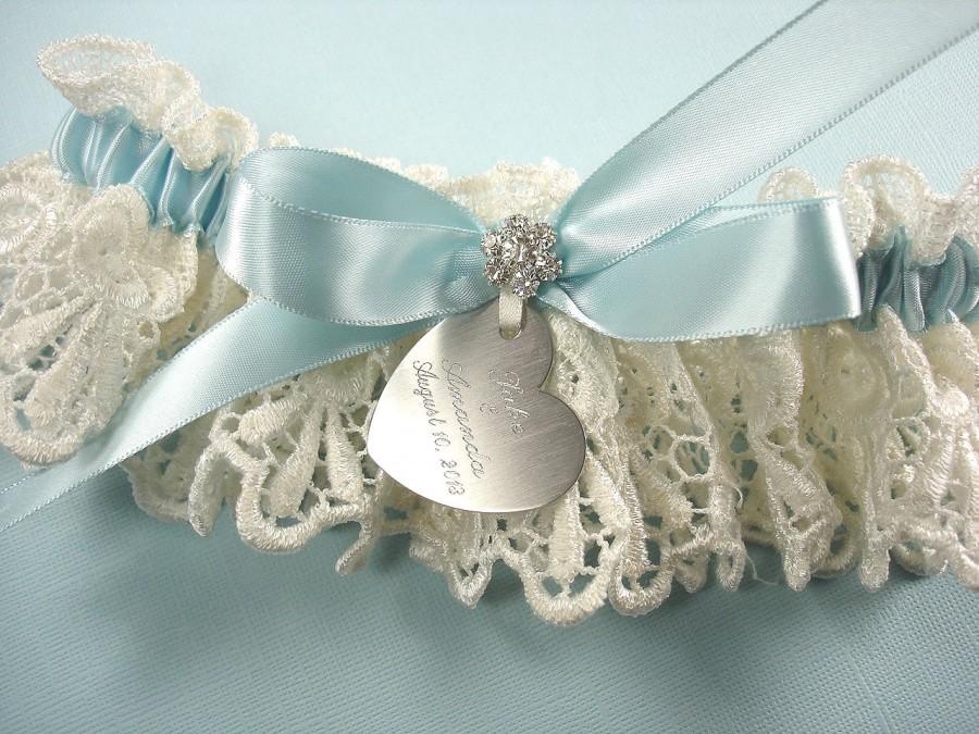 Something Blue Wedding Garter Personalized In Ivory Venise Lace With Engraving A Bow And Rhinestones
