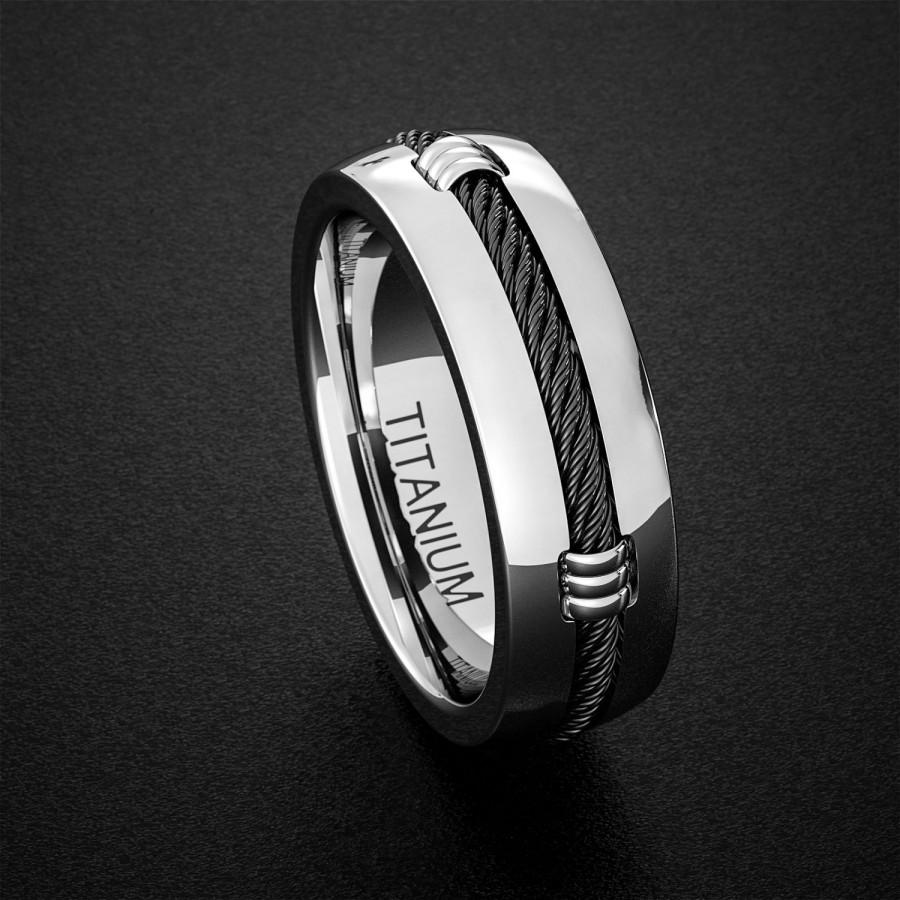 Titanium Wedding Band Mens Ring Polished Finish Dome With Black Cable Design Comfort Fit