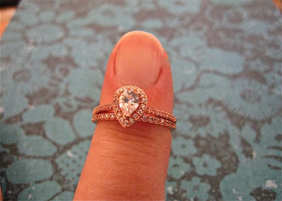 زفاف - Vintage 14K Rose Gold Over Sterling Wedding Ring Set