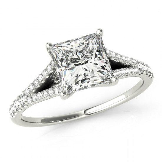 زفاف - Cyber Monday - 1 Carat Princess Forever One Moissanite and Diamond Engagement Ring 14k, 18k or Platinum, Wedding Engagement Rings for Women