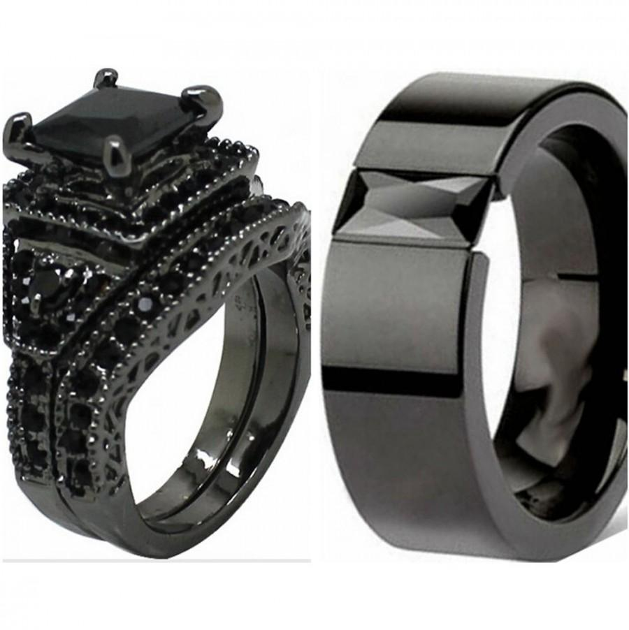 زفاف - New Black Wedding Engagement Ring Band Set Princess Cut CZ Halo Bridal Pair