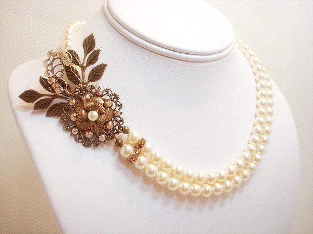 Antique gold bridal necklace pearl wedding necklace for Jewelry for champagne wedding dress