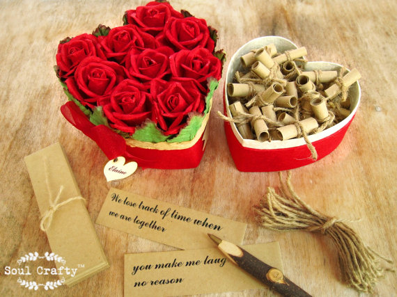 Wedding Gift For Fiance: 52 Reasons I Love You Because Red Rose Heart Shaped Box