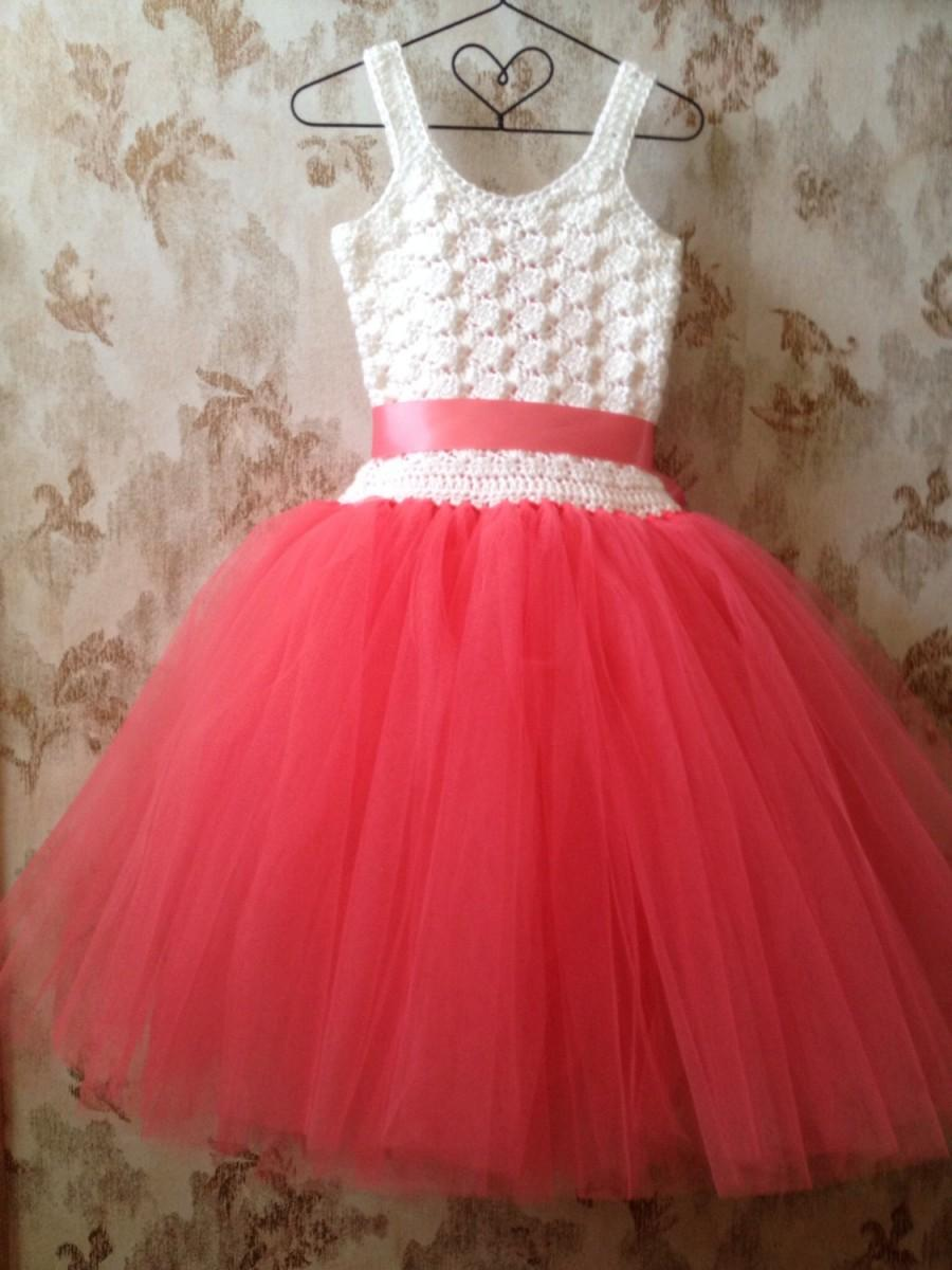 ead4e94135a Coral Flower Girl Tulle Dress Crocheted With Corset Back