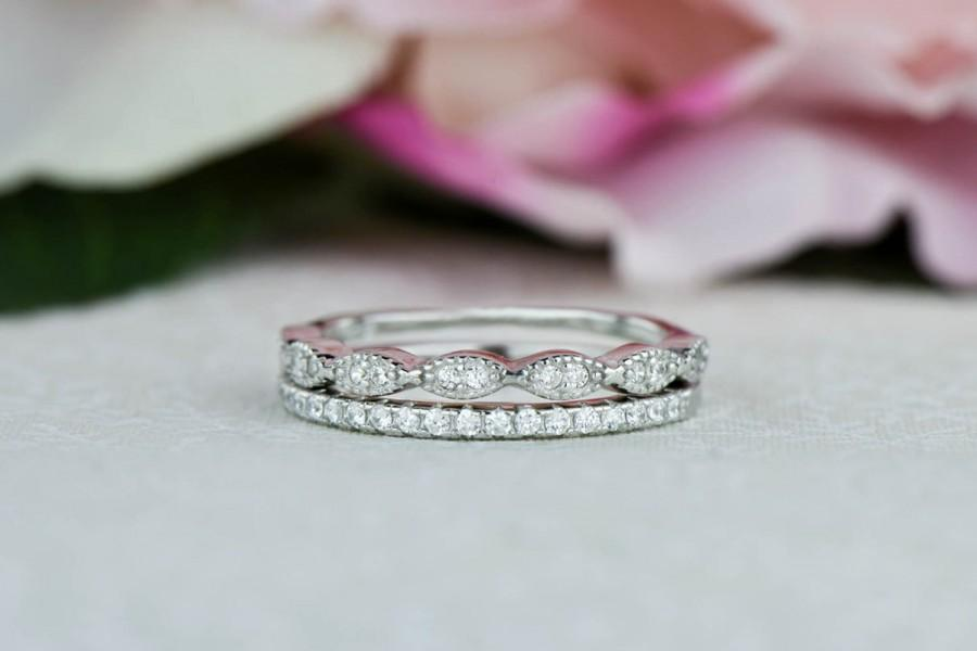Art Deco Wedding Band And Half Eternity Band Thin