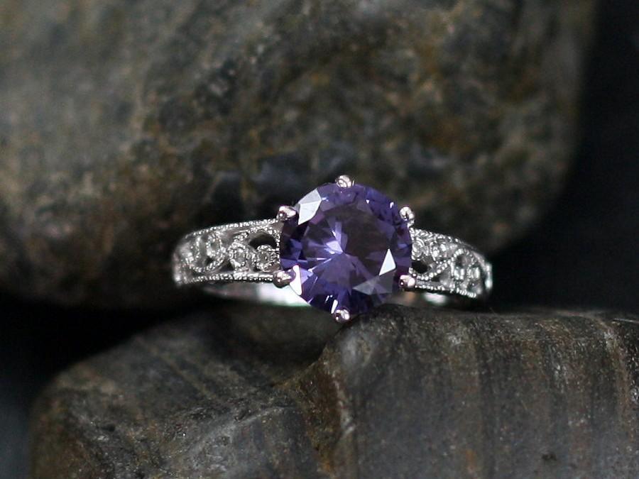 زفاف - Alexandrite Color Sapphire & Diamond Antique Style Filigree Engagement Ring Polymnia 2ct 8mm Custom White-Yellow-Rose Gold-10k-14k-18k-Plat