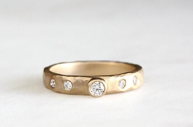 434a438ae813a Rustic Carved Diamond Ring, 14k Gold Wedding Band, Engagement Ring ...