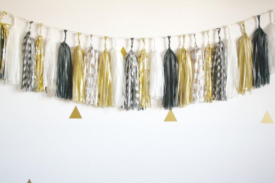 Black White And Gold Metallic Sparkle Tassel Garland New Years