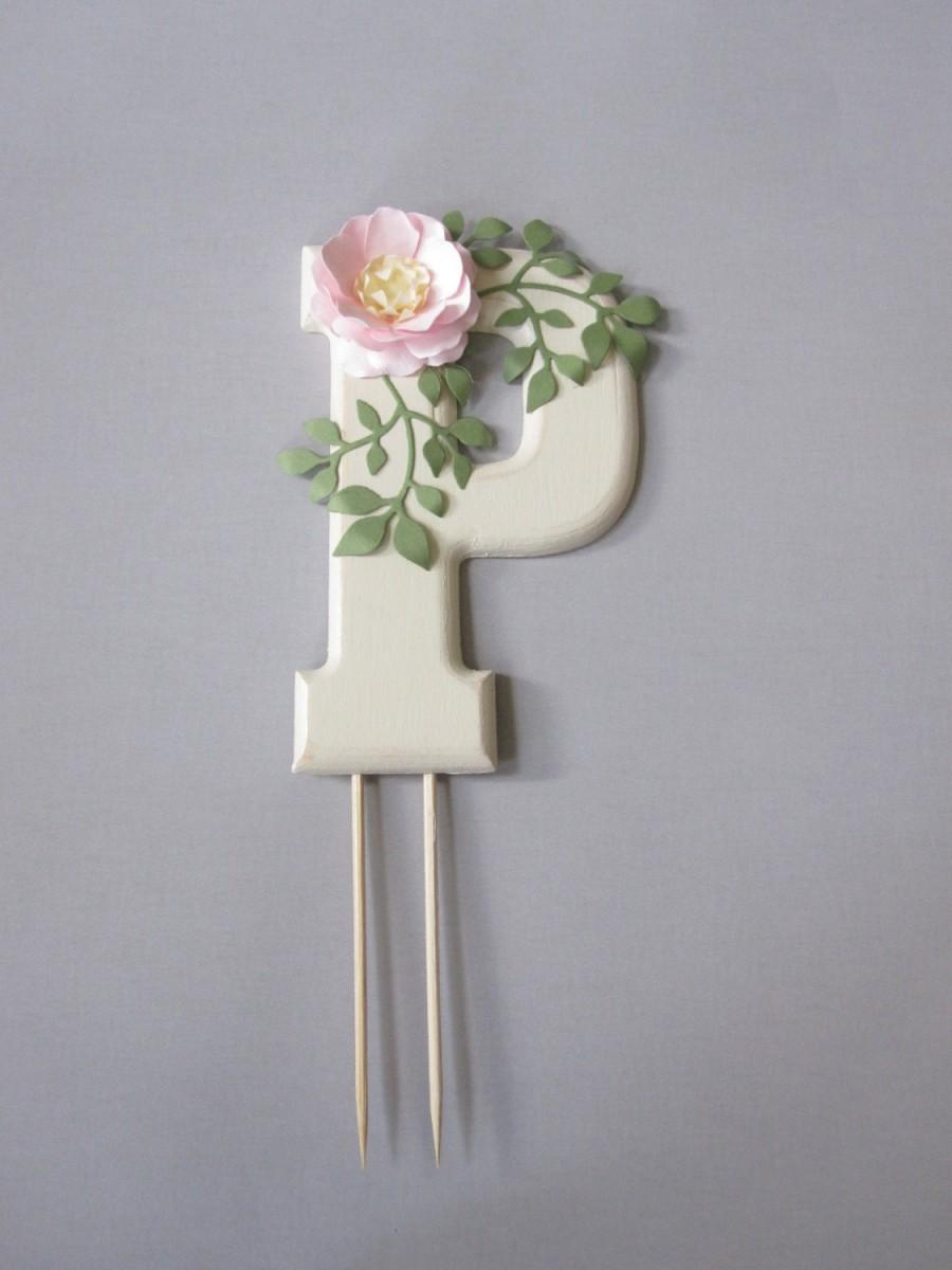 Wedding - Monogram Cake Topper with Handmade Paper Flower